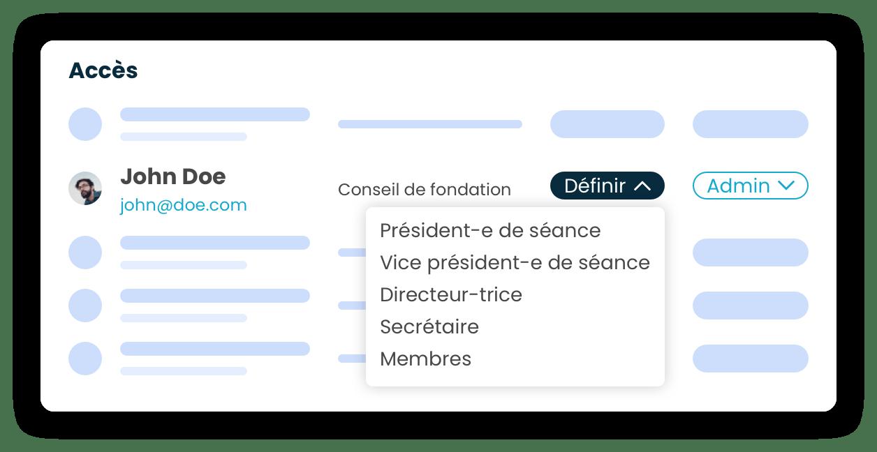 Maquette avec une liste d'utilisateurs et leurs accès.